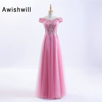 Newest A Line Off The Shoulder Pink Long Prom Dresses Beadings Appliques Tulle Custom Size Evening Gowns For Women Party Dress