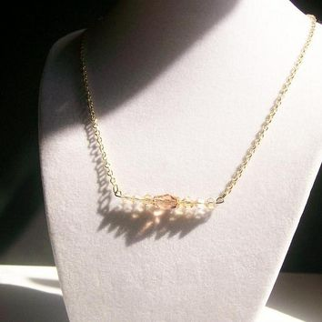 Champagne Crystal Bar Necklace