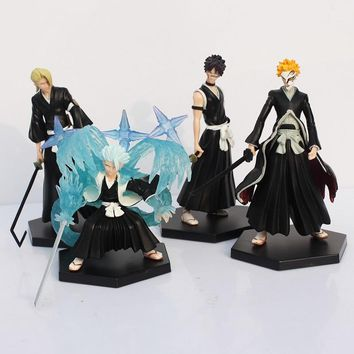 4pcs/lot 15cm Anime Bleach Ichigo Toushirou Rangiku Sousuke PVC Action & Toy Figures
