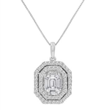 IGI Certified 7/8ct TW Fancy Emerald Cut Diamond Pendant-Necklace in 14K White Gold