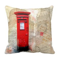 Classic Red Postbox - London Collage Throw Pillows