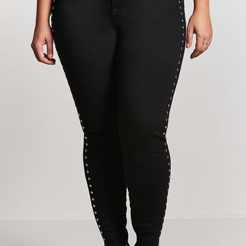Plus Size Studded Rose Jeans