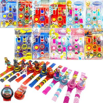 Hot Legoings Rotating Action Figure Digital Watch Building Blocks Kit Toys The Avengers Princess Mini Bricks DIY Educational Toy