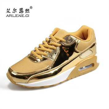 Tenis Masculino 2018 Tennis Shoes for Men Women Breathable Lightweight  Sneakers Male Sports Gold Silver Shoes 5e1ad5e8b044
