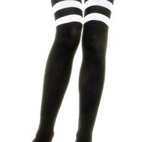 Leg Avenue 6605 - Athletic Ribbed Thigh Highs with Striped Tops in 4 different Colors!