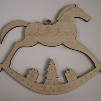 Large Rocking Horse Wood Cutout, Laser Cutouts, Unfinished Wood, Home Decor, Wall Art, Christmas Decorations, Door Hangers