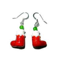 Red Christmas Stocking Lampwork Beaded Earrings