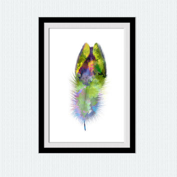 Feather colorful poster Feather print Feather watercolor illustration Home decoration Living room wall art Kids room decor Wall hanging W443