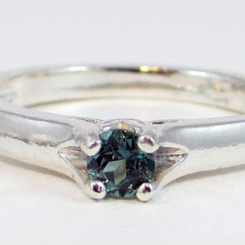 Teal Sapphire Solitaire Ring Sterling Silver, September Birthstone Ring, Natural Sapphire Ring, Teal Sapphire Ring, Sapphire Solitaire Ring