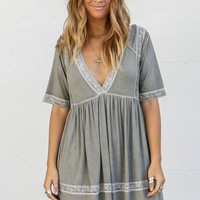 I Gotta Feeling Olive Lace Trim Dress