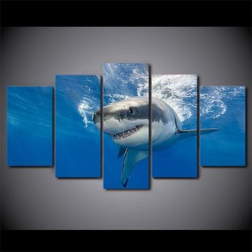 5 Piece Canvas Panel Wall Art Abstract Shark Print Blue Ocean Picture