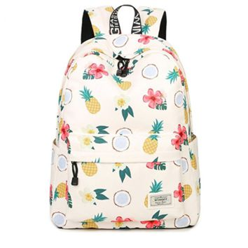 Creative Women's Canvas Lightweight Pineapple Backpack Daypack Travel Bag