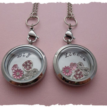 Sorority Sisters Living Lockets & Charms - Hand stamped back plates Big / Little Rush Week Pledgling Gift for her Big sis Little Sis