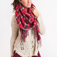 Remember Me Blanket Scarf (Red Plaid)