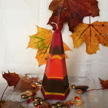 Autumn leaves soy pillar candle,, scented with Berry Vanilla.