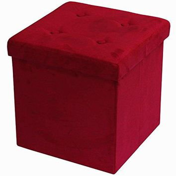 Sorbus Storage Ottoman Bench – Collapsible/Folding Bench Chest with Cover – Perfect Toy and Shoe Chest, Hope Chest, Pouffe Ottoman, Seat, Foot Rest, – Contemporary Faux Suede (Red)