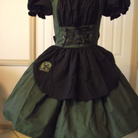 LAST XLarge Gothic Lolita Zombie Hunter Dress Costume Cosplay Halloween Army Green and Black Womens