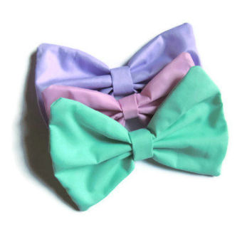 Three Pack Large Pastel Hair Bows - Pink, Lavender, Mint