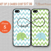 Elephant, Bestfriends, infinity & chevron iPhone 5 Case, iPhone 5 Hard Plastic/soft rubber Case,Personalized iPhone Cases,water proof