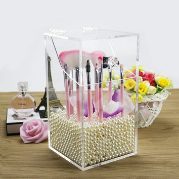 Clear Acrylic Makeup Brush Organizer Cosmetic Brush Holder Makeup Lip Pencil Cosmetic Storage Box with Dustproof cover and Free White Pearl best for Lip Eyebrow Pencil etc-NEWCREA