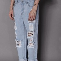 Relaxed Light Wash Distressed Jean