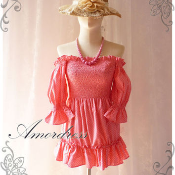 Vintage Summer Girl - Hot Spring Summer Pink Dolly Tunic or Mini Dress Party Holiday Date Beach Garden Sweet Sexy Tunic Dress -XS-S-