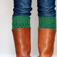 Crochet Boot Cuffs In Sage Green on Luulla