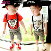 2016 Children's Clothing Boys T-shirt + Bib 2pcs/set Baby Suit Cartoon diamond plaid short-sleeved gentleman overalls