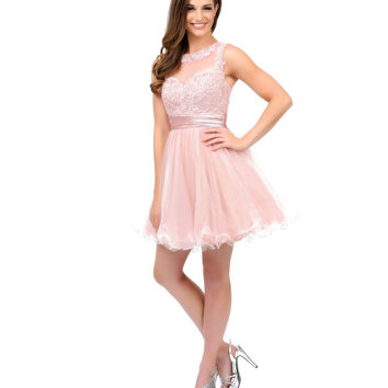Peach Embroidered Illusion Tulle & Sequin Short Dress 2015 Prom Dresses