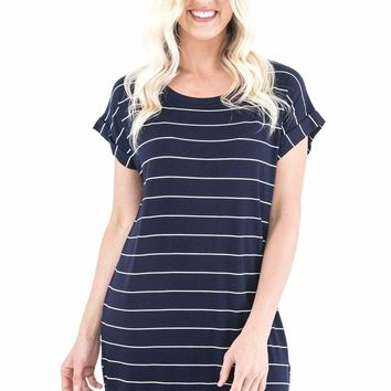 Women's Striped T-Shirt Dress with Rolled Short Sleeves