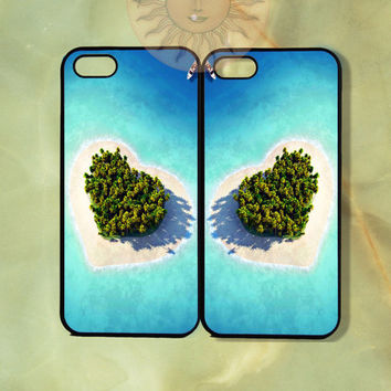 Heart Island Love Couple Best Friend Case-iPhone 5, 5s, 4s, 4 case, Ipod 5,Samsung GS3, GS4-Silicone Rubber or Hard Plastic Case Phone cover