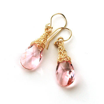 Wire Crochet Earrings - Rose Swarovski Earrings - Gold Filled Pink Earrings
