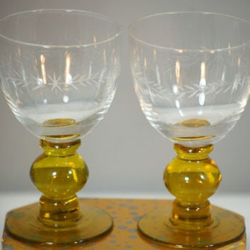Pair Of Vintage Etched Glasses With Amber Stem