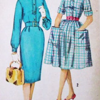 1960s Teen One-Piece Dress with Two Skirts Vintage Sewing Pattern, Simplicity 3560 Bust 30""