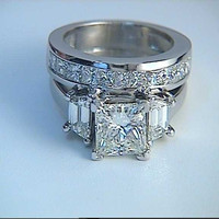 2.50ct F-SI2 Princess Cut Diamond Engagement & Wedding Ring Set GIA certified JEWELFORME BLUE