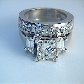 3.80ct Princess Cut Diamond Engagement & wedding Ring Set GIA certified JEWELFORME BLUE