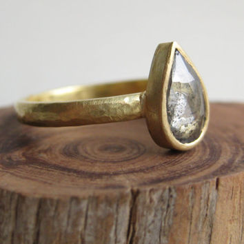 Fairtrade 18k Gold, Rustic Diamond Engagement Ring.  1ct Rose Cut Diamond with Charcoal Grey Flecks with a Hand Hammered Band.