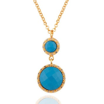 "Turquoise Gemstone Sterling SIlver Pendant White Topaz 24"" Gold Plated Necklace"