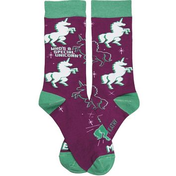 Who's A Special Unicorn? Me! Socks in Violet and Green
