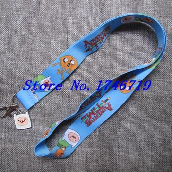 Retail New 1 pcs cartoon  Adventure Time Finn and Jake   pendant with Lanyard  Neck Strap  Holders With Key Chain ST-16