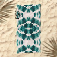 BOHEMIAN EMERALD SHIBORI Beach Towel by Nika
