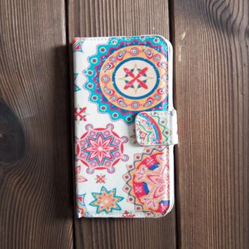 Boho Style Leather Flip Wallet Case for iPhone Galaxy S5