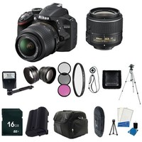 Nikon D3200 24.2 MP CMOS Digital SLR with 18-55mm f/3.5-5.6 AF-S DX VR Lens (Black) - International Version (No Warranty) + Replacement Li-on Battery + 16GB SDHC Memory Card + More!!