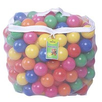 Pack of 200  Free BPA Free Crush Proof Plastic Ball, Pit Balls - 6 Bright Colors in Reusable and Durable Storage Mesh Bag with Zipper