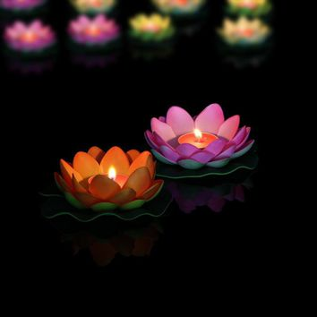 Romantic Lotus Tea Light Candles Wishing Water Floating Candle Party Decoration