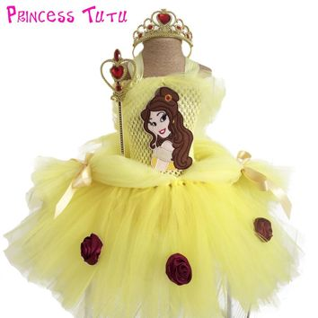 Princess Belle Beauty and Beast Girl Tutu Dress Knee Length Lovely Children First Birthday Flower Tutu Dresses Halloween Costume