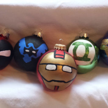 Superhero Handpainted Christmas Ornaments: Iron Man, Deadpool, Wonderwoman, Green Lantern