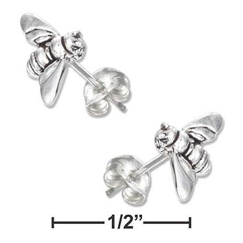 Sterling Silver Earrings:  Mini Bumble Bee Earrings On Stainless Steel Posts And Nuts