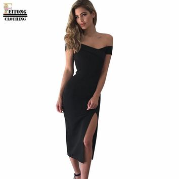 FEITONG summer dress Women's Off Shoulder SleeveLess Cocktail Split The Fork Irregular Mid-Calf Solid Black Black Dress#LREW