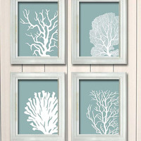 4 Coral Prints on Mist Blue/Green Nautical print Poster Drawing Digital Print Wall Art Wall Décor Wall Hanging beach house bathroom poster
